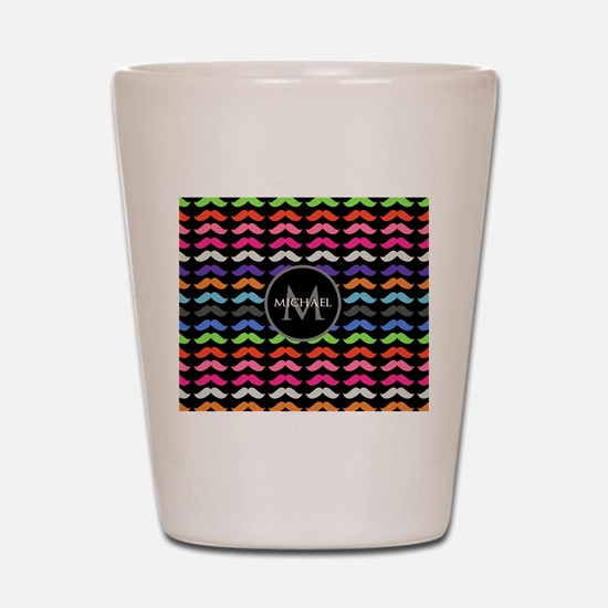 Girly Colorful Mustache Pattern Monogram Shot Glas