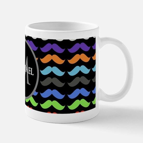 Girly Colorful Mustache Pattern Monogram Mugs