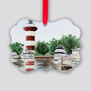 harbor town light Picture Ornament
