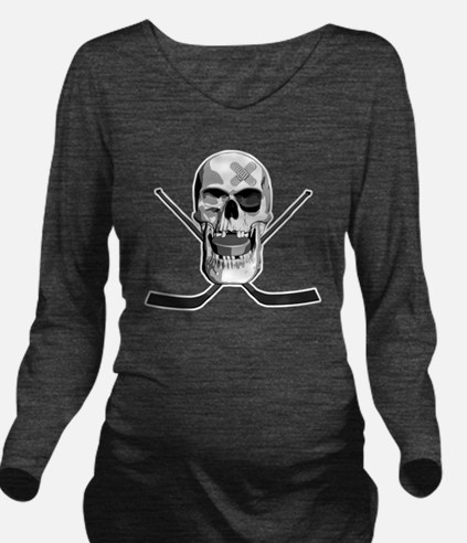 hockeyskull2 Long Sleeve Maternity T-Shirt