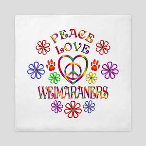 Peace Love Weimaraners Queen Duvet