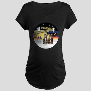 R-Xmas Dove - Two BrownTabb Maternity Dark T-Shirt