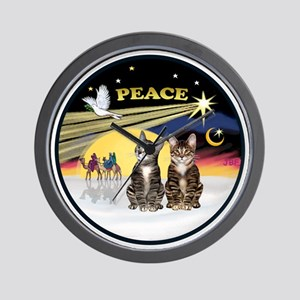 R-Xmas Dove - Two BrownTabby cats Wall Clock