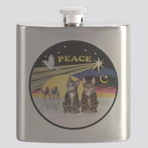 R-Xmas Dove - Two BrownTabby cats Flask