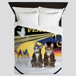 R-Xmas Dove - Two BrownTabby cats Queen Duvet
