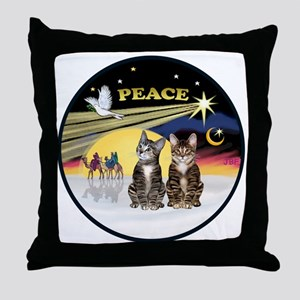 R-Xmas Dove - Two BrownTabby cats Throw Pillow