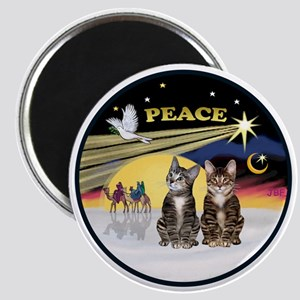 R-Xmas Dove - Two BrownTabby cats Magnet