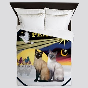 R-Xmas Dove - Two Siamese cats (Choc+B Queen Duvet