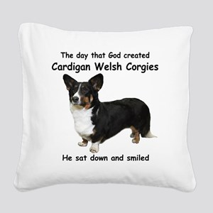 God-Cardigan Dark Shirt Square Canvas Pillow