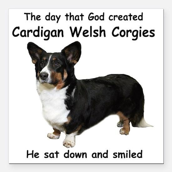 "God-Cardigan Dark Shirt Square Car Magnet 3"" x 3"""
