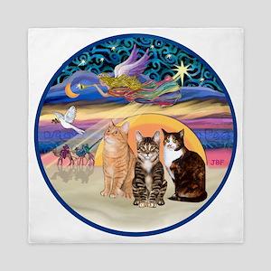R-Xmas Star -Three cats (AmSH) Queen Duvet