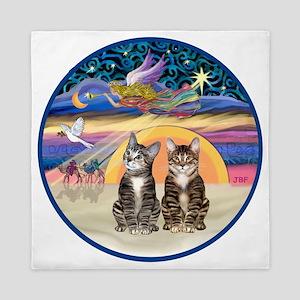 R-Xmas Star - Two Tabby cats Queen Duvet
