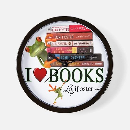 shirt - frogs love books Wall Clock