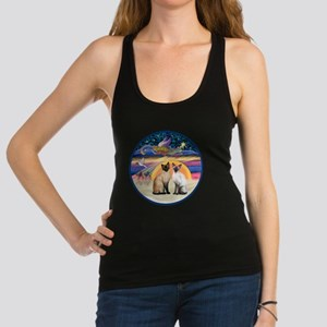 R-Xmas Star - Two Siamese cats Racerback Tank Top