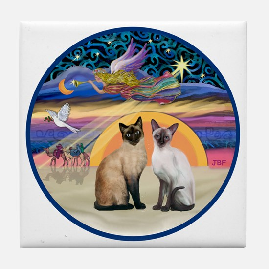 R-Xmas Star - Two Siamese cats Tile Coaster