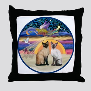 R-Xmas Star - Two Siamese cats Throw Pillow