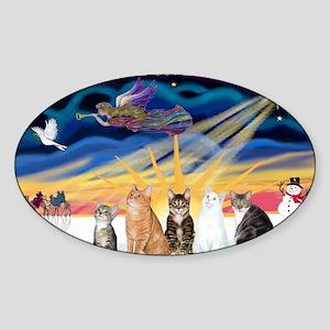 Xmas Sunrise - Five cats (AmSH) Sticker (Oval)