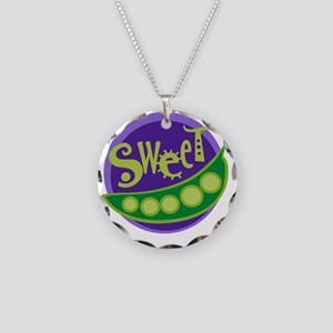 sweet pea Necklace Circle Charm