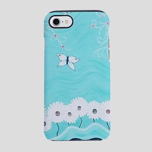 Aqua Floral iPhone 7 Tough Case