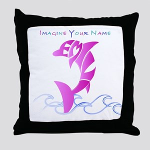 Emily pink dolphin Throw Pillow