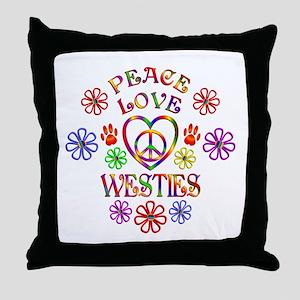 Peace Love Westies Throw Pillow