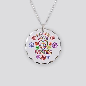 Peace Love Westies Necklace Circle Charm