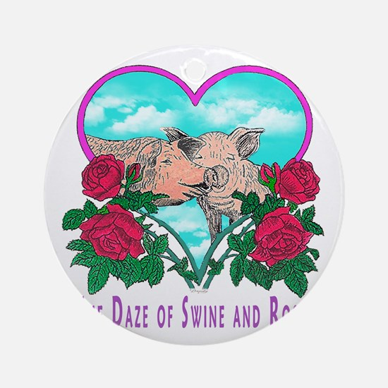 SWINE AND ROSES T  2 Lg Round Ornament