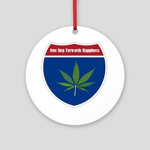 Cannabis Leaf Round Ornament