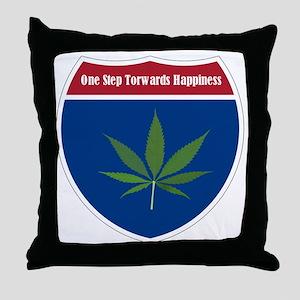 Cannabis Leaf Throw Pillow