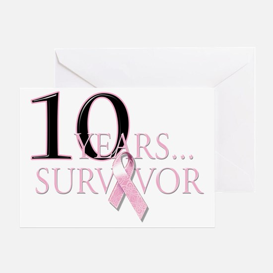 10 Years Breast Cancer Survivor Greeting Card