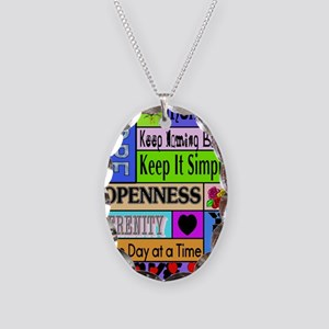 12 step sayings Necklace Oval Charm