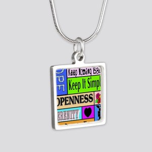 12 step sayings Silver Square Necklace