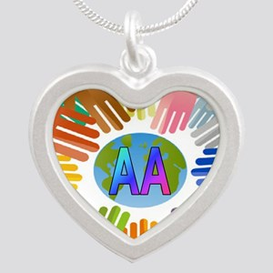 2-AA HANDS Silver Heart Necklace