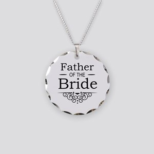 Father of the Bride black Necklace Circle Charm