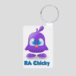 RA Purple Chicky Cute Logo Aluminum Photo Keychain