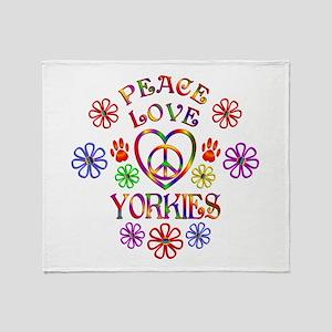Peace Love Yorkies Throw Blanket