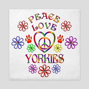 Peace Love Yorkies Queen Duvet