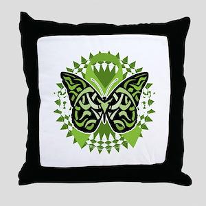 NH-Lymphoma-Butterfly-Tribal-blk Throw Pillow