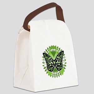 NH-Lymphoma-Butterfly-Tribal-blk Canvas Lunch Bag
