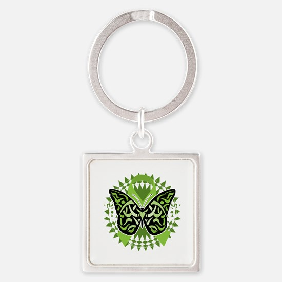 NH-Lymphoma-Butterfly-Tribal-blk Square Keychain