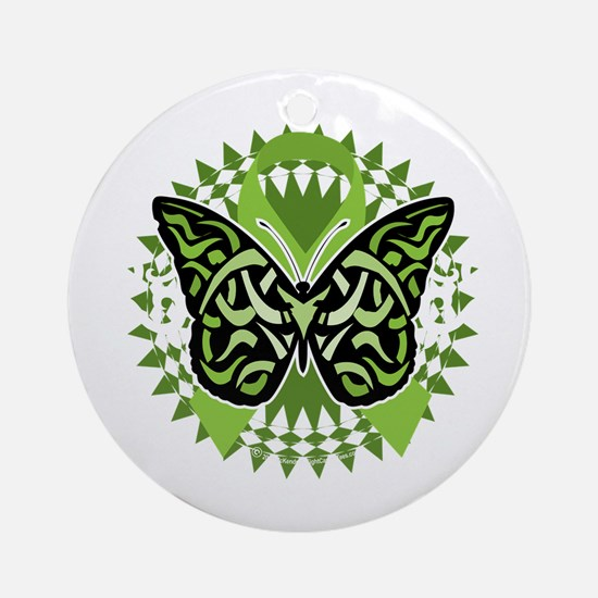 NH-Lymphoma-Butterfly-Tribal-blk Round Ornament