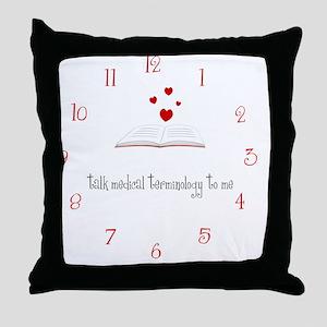 medterm-clock Throw Pillow
