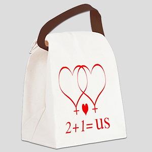 hearttwoplusonefamilylesbian Canvas Lunch Bag