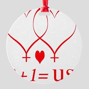 hearttwoplusonefamilylesbiantrans Round Ornament