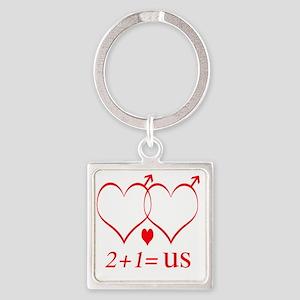 hearttwoplusonefamilygay Square Keychain