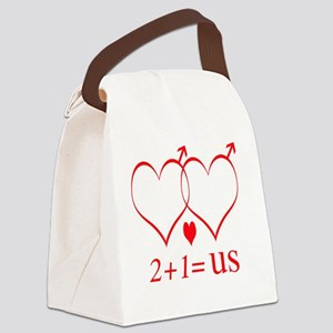 hearttwoplusonefamilygay Canvas Lunch Bag