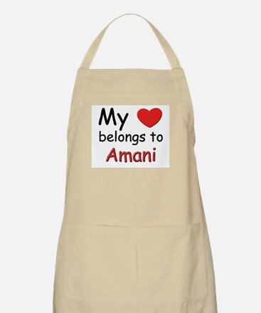 My heart belongs to amani BBQ Apron