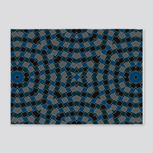 kaleido art blue boxes 5'x7'Area Rug