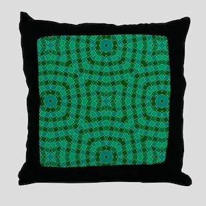 kaleido art green boxes Throw Pillow