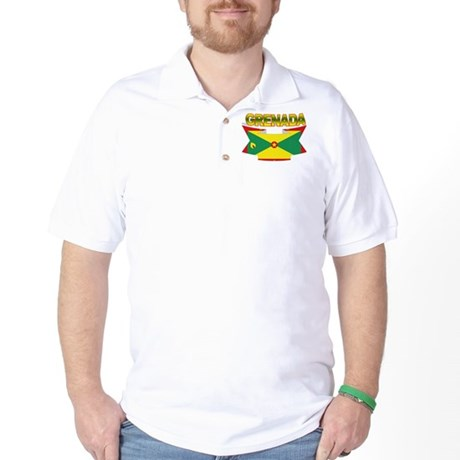 Grenada Flag Ribbon Golf Shirt